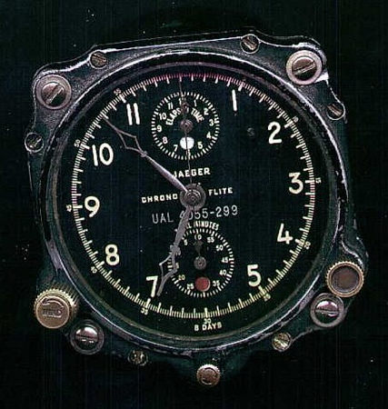 An 8-Day Clock from a United Airlines DC-7 aircraft. Manufactured by Jaeger Le Coultre.