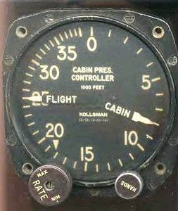A Cabin Pressure Controller Indicator from a Douglas DC-7.