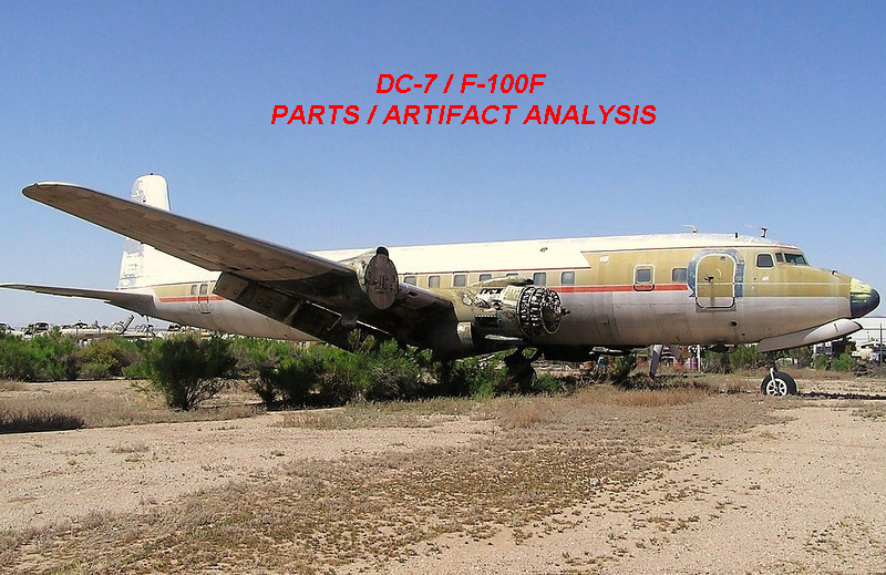 ARTIFACT ANALYSIS:<br /> <br /> I used this ex-Delta Air Lines Douglas DC-7B (N4889C) stored in Chandler Arizona to match the location of recovered parts from UAL Flight 736. <br /> <br /> The same aircraft was also used by LostFlights to identify located wreckage from UAL Flight 718 that was lost in the 1956 Grand Canyon disaster.