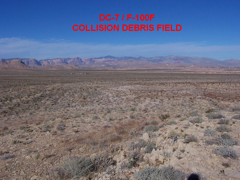 THE DC-7/F-100F DEBRIS FIELD:<br /> <br /> Much of the debris from the collision fell into this vast expanse of desert located between the two aircraft impact sites. (LostFlights. org)
