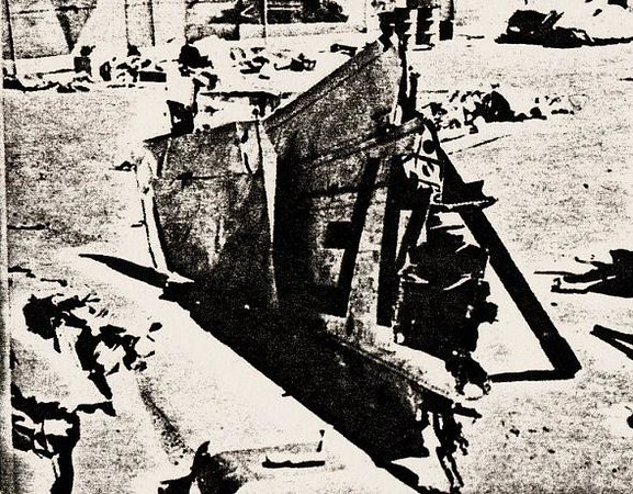 CAB WRECKAGE RECOVERY - 1958:<br /> <br /> Wreckage of both aircraft were removed from the desert and taken to a secured fenced yard on Nellis Air Force Base. Pictured is the recovered right wing from the F-100F.
