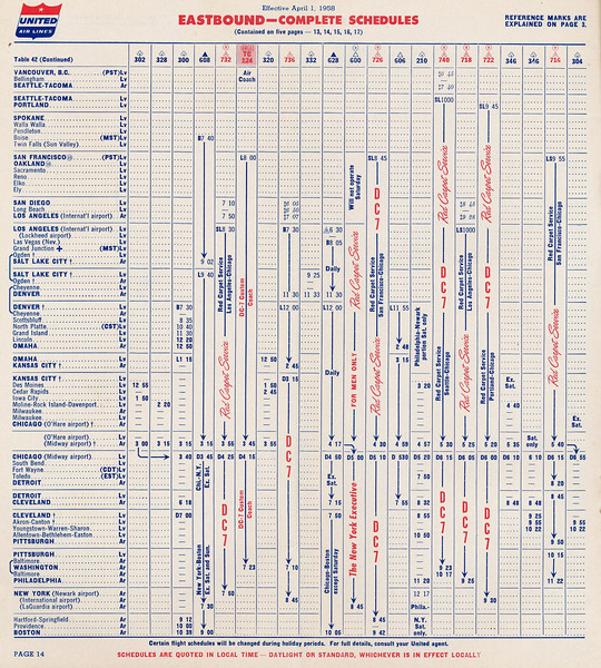 This page from the United Air Lines timetable dated April 1, 1958, lists Flight 736 as a coast to coast flight that originated at Los Angeles International Airport with stops in: Denver, Kansas City, Washington D.C., and New York City.