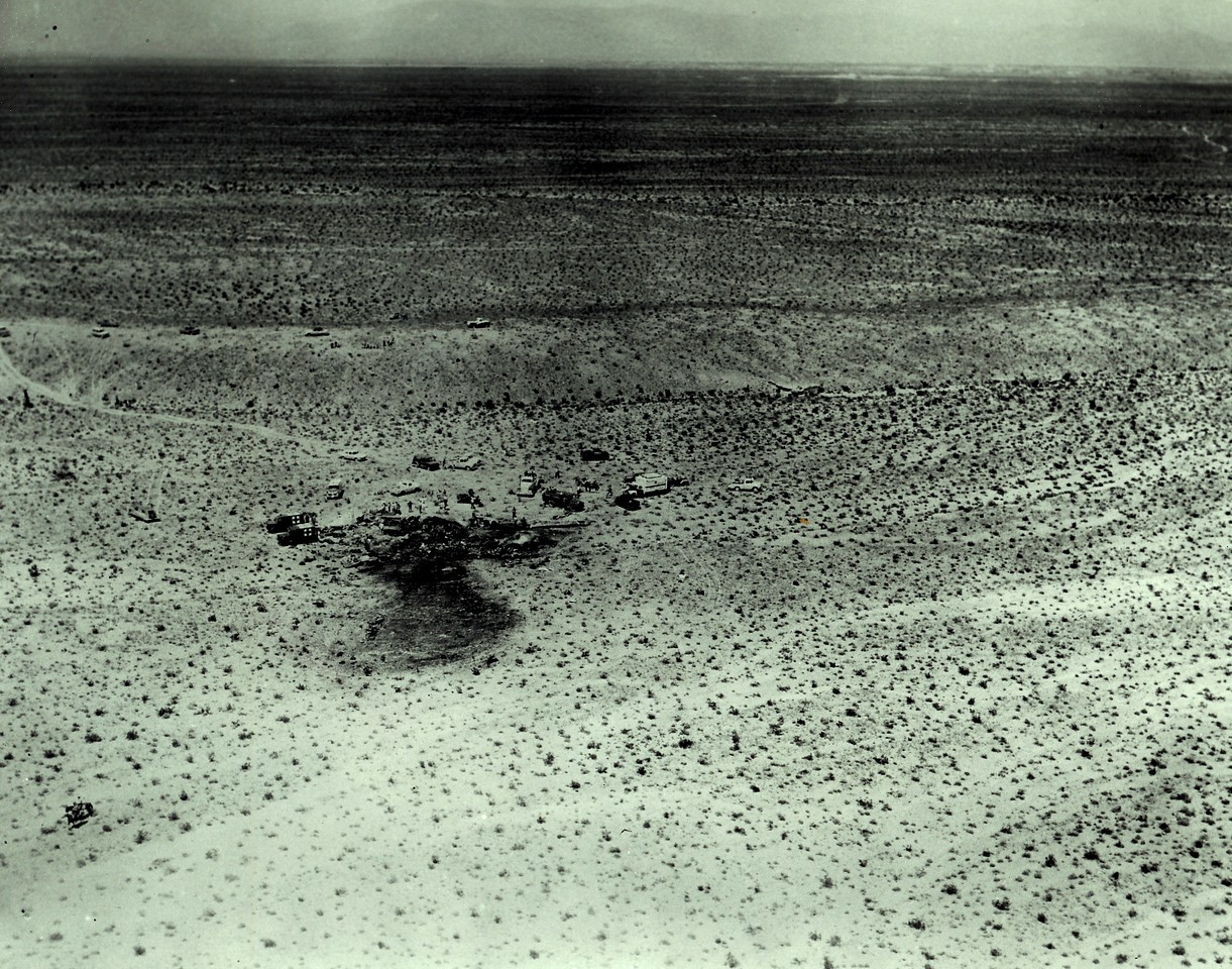The Douglas DC-7 impacted the flat desert terrain south of Las Vegas with very little if any forward motion. As a result, the main impact site itself was confined to a relatively small area.