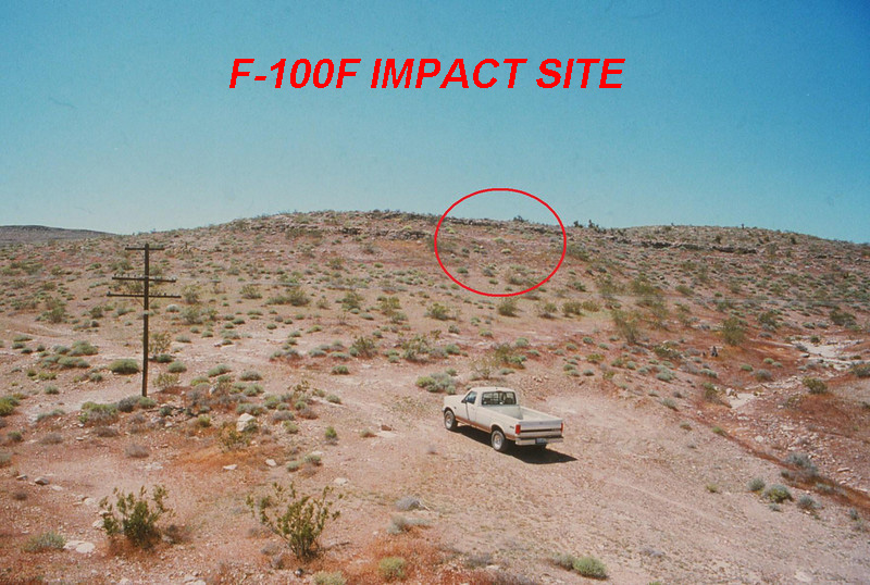 F-100F MAIN IMPACT SITE:<br /> <br /> During 1995, I made my first visit to the impact site of the F-100F which lies about seven miles south of the DC-7 main impact site.