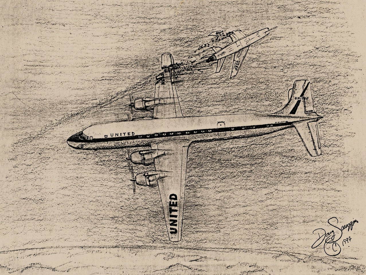 Similar to the 1956 Grand Canyon mid-air collision, the Las Vegas collision also occurred at 21,000 feet on a clear morning.  <br /> <br /> The near head-on collision and resulting aircraft descents were witnessed by many people in the Las Vegas area. (Courtesy of Doug Scroggins)