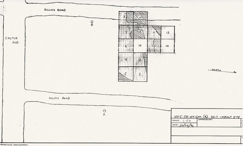 Excavation diagram illustrating the grids excavated during the recovery operation of the DC-7 main impact site during 1995-1997.