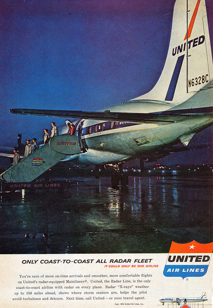 This rare United Air Lines magazine ad from 1958 featured a color photo of N6328C. The ad ran for less than 3 months before it was removed from circulation by the airline immediately after the accident.