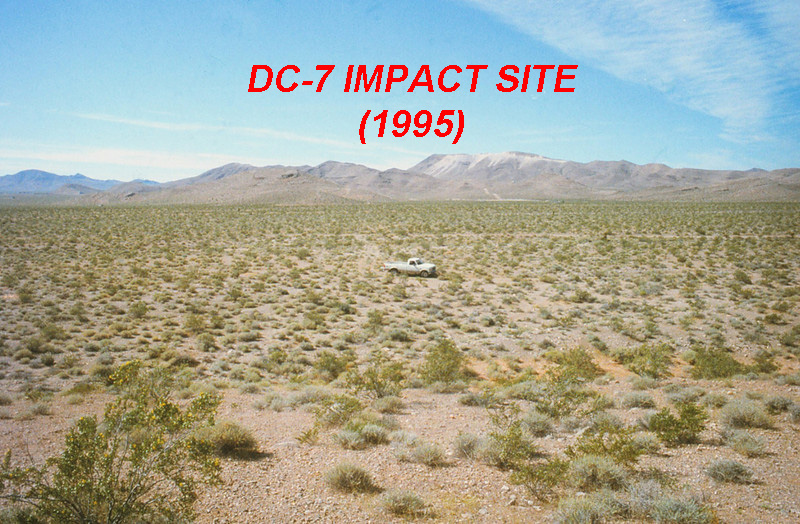 DOUGLAS DC-7 MAIN IMPACT SITE:<br /> <br /> With the exception of a one lane dirt road (Cactus Road), the impact site of the DC-7 had remained untouched since 1958.