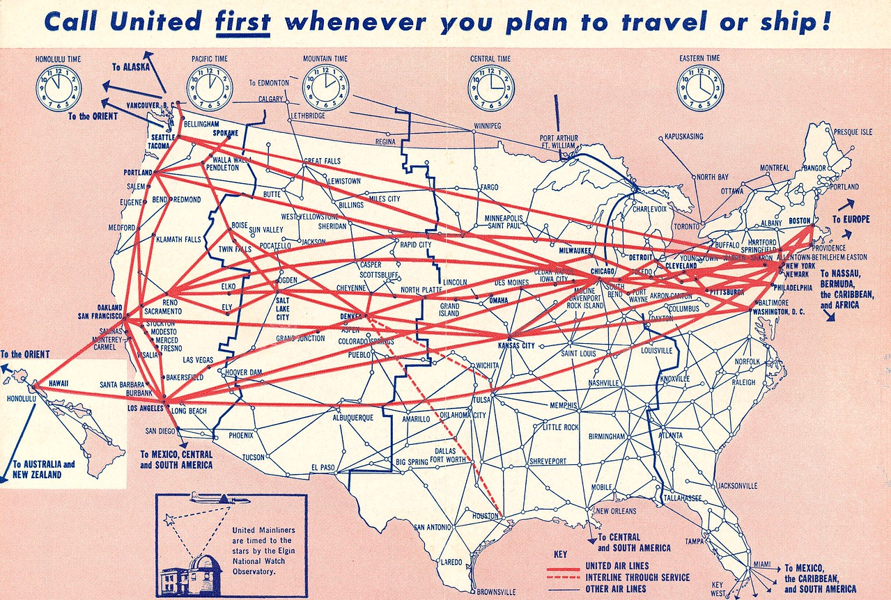 This United Air Lines system route map illustrates the route structure of the airline during April 1958. United Air Lines would later go on to be one of the largest global air carriers.