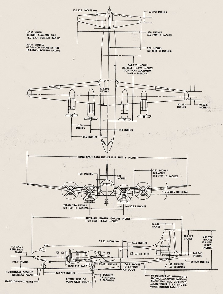 GENERAL CHARACTERISTICS<br /> <br /> Crew: 3 or 4 <br /> Capacity: 99 to 105 passengers <br /> Length: 108 ft. 12 in.  <br /> Wingspan: 117 ft. 6 in.  <br /> Height: 28 ft. 9 in.  <br /> Wing area: 1,637 ft. <br /> Empty weight: 72,763 lbs. <br /> Max takeoff weight: 143,000 lbs. <br /> Powerplant: Four (4) Wright R-3350-18EA1 turbo-compound radial piston engines, 3,250 hp.  each.<br /> <br /> PERFORMANCE<br /> <br /> Maximum speed: 406 mph. <br /> Cruise speed: 355 mph.<br /> Range: 4,605 miles<br /> Service ceiling 25,000 ft. <br /> Rate of climb: 1,043 ft/min<br /> Wing loading: 87.4 lb/ft.
