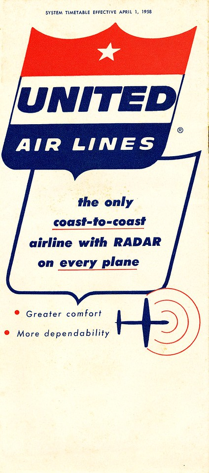 This United Air Lines schedule timetable dated April 1, 1958 would have provided schedule and travel information for passengers booked on UAL's ill-fated Flight 736.