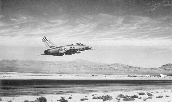 THE ACCIDENT<br /> <br /> At 7:45 am, about half an hour before the airliner crew reported their position, a U.S. Air Force F-100F-5-NA Super Sabre jet fighter, serial number 56-3755, departed Nellis Air Force Base near Las Vegas on an instrument training flight with two pilots on board. <br /> <br /> In the front seat of the tandem cockpit was flight instructor and safety pilot Capt. Thomas N. Coryell, 29, and behind him sat his student, 1st Lt. Gerald D. Moran, 24, who as part of his training would spend the flight under a hood that blocked his view outside the aircraft, but allowed him to see his instrument panel.