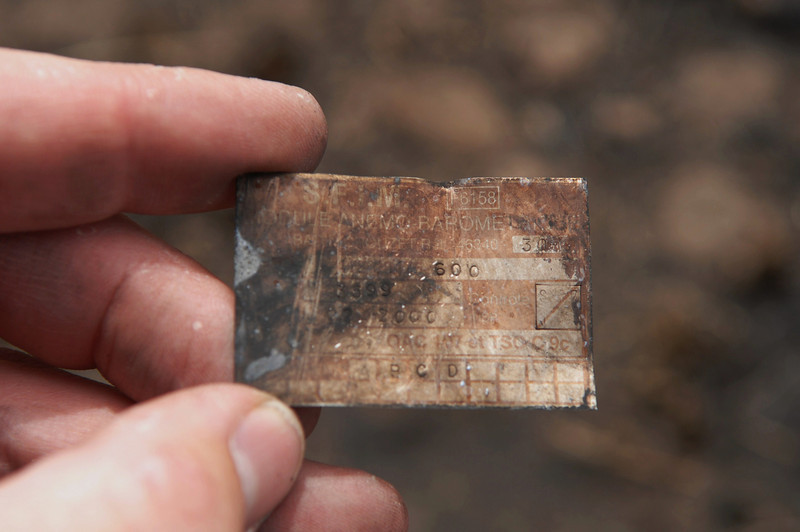 Data Plate from the S.F.I.M. Barometric Module. Part of the auto pilot system. Recovered from the Guardian Air impact site. (2008 LostFlights)