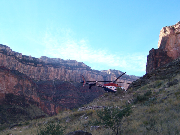 """""""Angel 1"""", N407GA seen here on a medi-vac flight below Grandview Point in the Grand Canyon. This photo alone illustrates the value of air ambulance operations."""