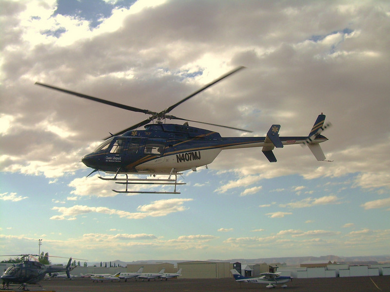 """N407MJ operated by Classic Lifeguard was also a Bell/Textron Model 407 Helicopter enroute to the Flagstaff Medical Center with call sign """"Lifeguard 2"""". It was transporting a patient from the NPS Heli-Base on the Grand Canyon's south rim."""