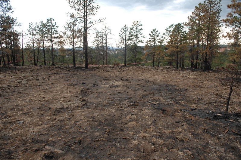 Looking west at the burned impact site of the Guardian Air helicopter. (2008 LostFlights)
