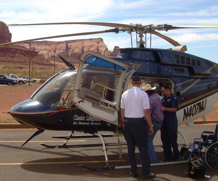 N407MJ seen here transporting a patient from Monument Valley on the Navaho Indian Reservation. The Page, AZ based helicopter was often used in rural communities.