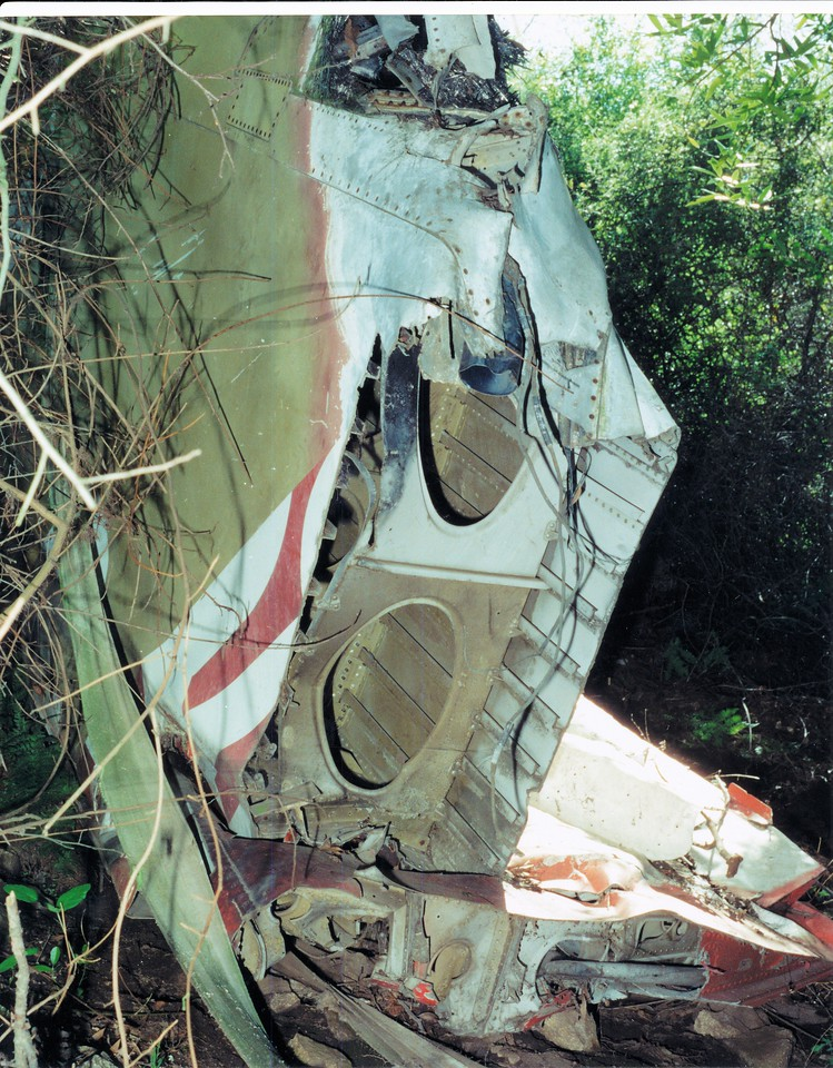 This photo shows how the tail was cut from the main fuselage.  (LostFlights File Photo)