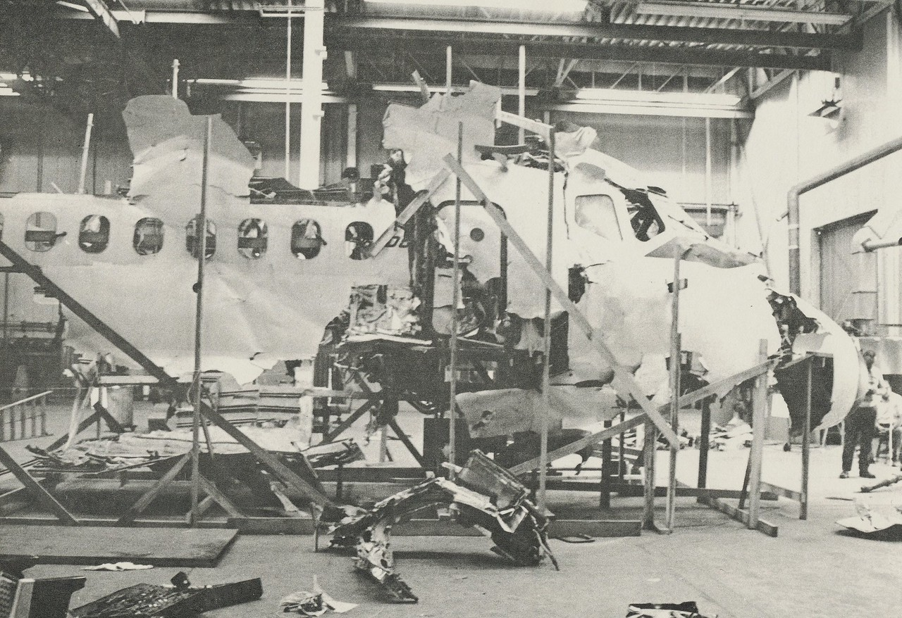 PUTTING THE PIECES TOGETHER<br /> <br /> A rare photo of the DC-9's forward fuselage structural reconstruction depicts the extensive damage caused by the collision with the USMC F-4B Phantom and subsequent ground impact. (LostFlights File Photo)