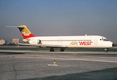 """1st. AIRCRAFT - McDONNELL DOUGLAS DC-9-31  The McDonnell Douglas DC-9 (initially known as the Douglas DC-9) is a twin-engine, single-aisle jet airliner. It was first manufactured in 1965 with its maiden flight later that year. The DC-9 was designed for frequent, short flights. The final DC-9 was delivered in October 1982.  This photo was taken at Los Angeles International Airport (LAX) as """"N9345"""" taxis for a morning departure during January 1970.  (LostFlights File Photo)"""