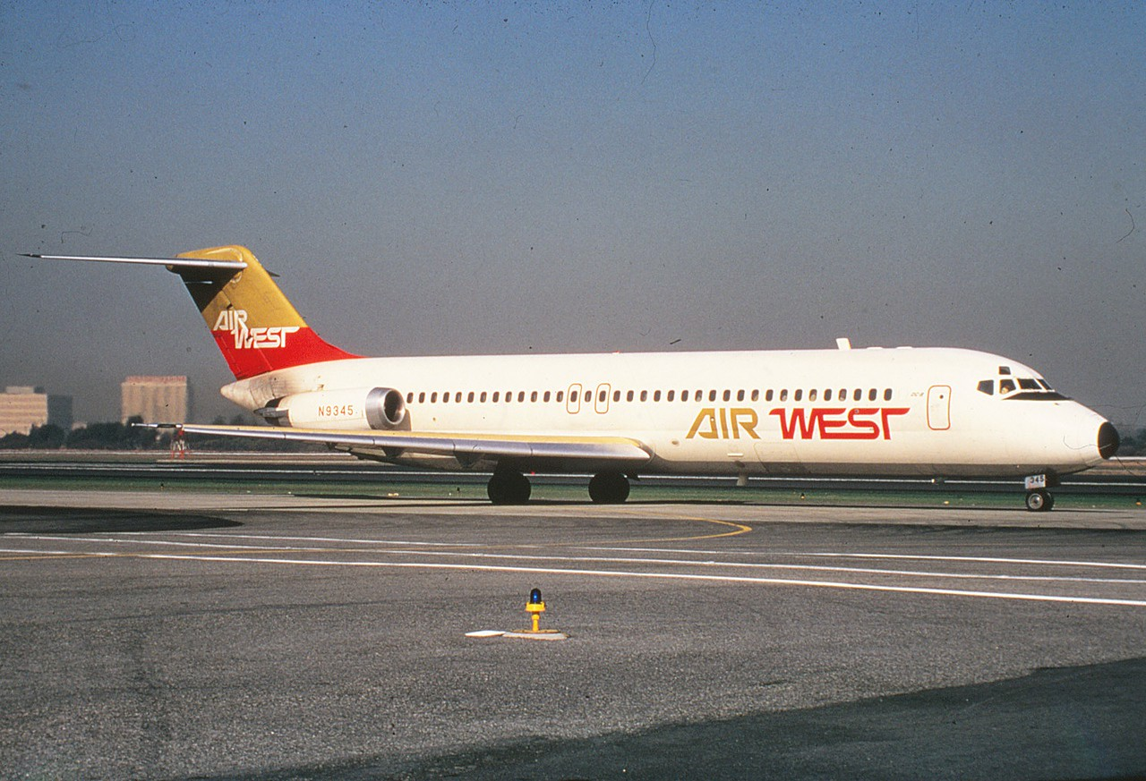 "1st. AIRCRAFT - McDONNELL DOUGLAS DC-9-31<br /> <br /> The McDonnell Douglas DC-9 (initially known as the Douglas DC-9) is a twin-engine, single-aisle jet airliner. It was first manufactured in 1965 with its maiden flight later that year. The DC-9 was designed for frequent, short flights. The final DC-9 was delivered in October 1982.<br /> <br /> This photo was taken at Los Angeles International Airport (LAX) as ""N9345"" taxis for a morning departure during January 1970.  (LostFlights File Photo)"