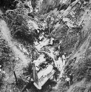 This photo shows how the wreckage of the DC-9 was concentrated at the bottom of the tributary canyon. The tail section and other debris was removed from the site after the on-site investigation was completed. (Courtesy NTSB)