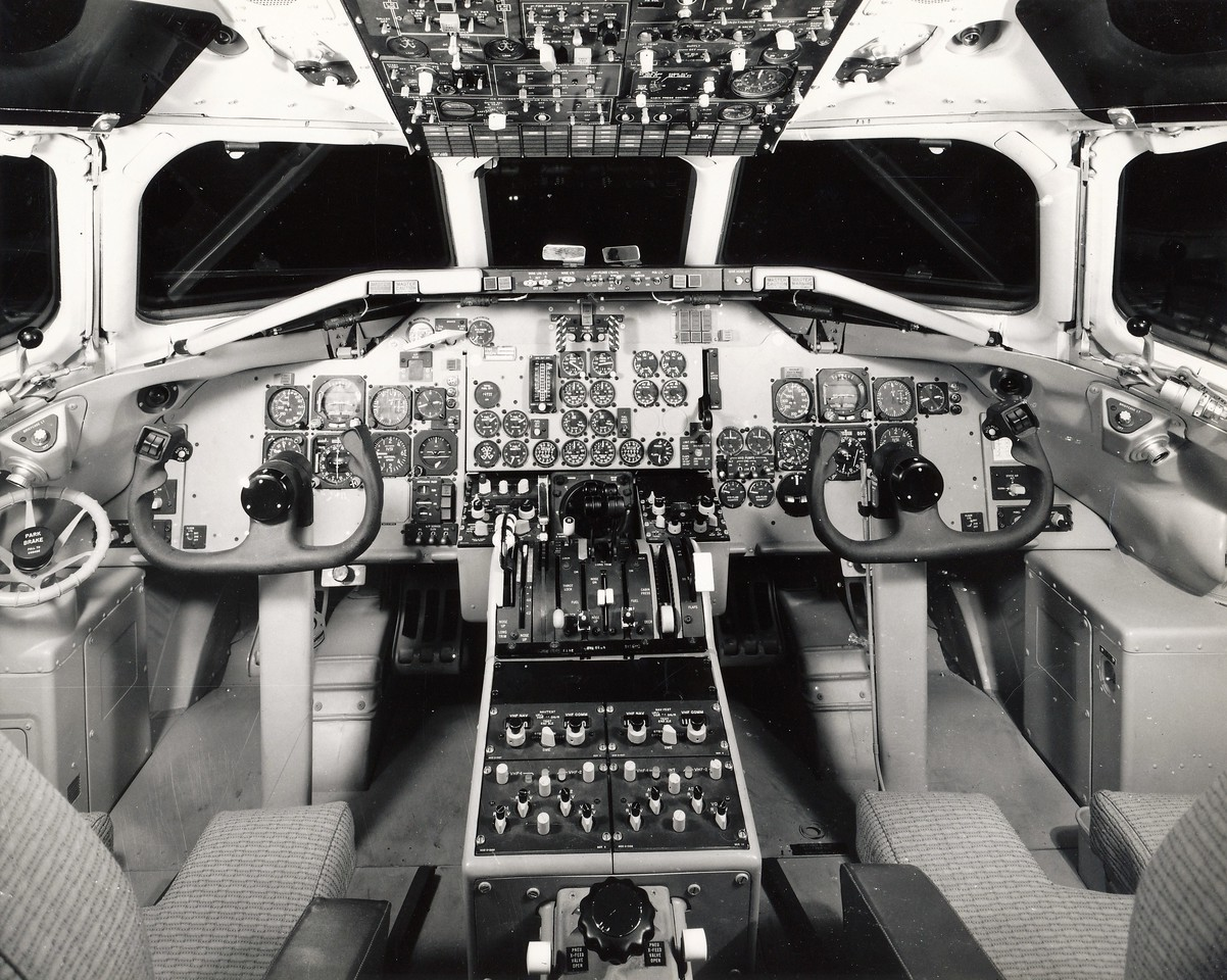 "The flight deck of Hughes Air West Flight 706 was considered ""state-of-the-art"" back in 1971. It was configured for a two pilot flightcrew. <br /> <br /> This photo also illustrates the limitations of cockpit window visibility. A causal factor examined during the accident investigation. (LostFlights File Photo)"