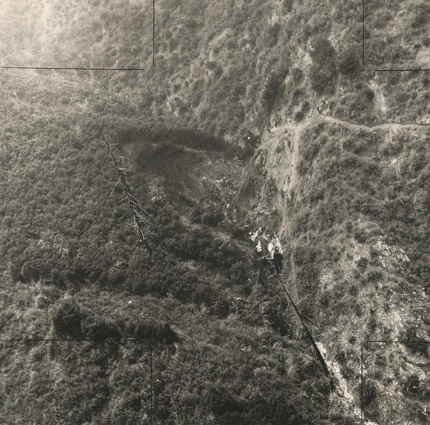 THE ACCIDENT - HUGHES AIR WEST DC-9-31 IMPACT SITE<br /> <br /> After the collision, both aircraft and debris fell onto the steep slopes of Mt. Bliss and nearby Fish Canyon.<br /> <br /> The impact site of Air West Flight 706 is seen in this June 1971 NTSB file photo. This photo and the vague NTSB Accident Report is all I had to work with when I started to search for the crash site. It took an aerial search to locate the wreckage. (Courtesy NTSB)