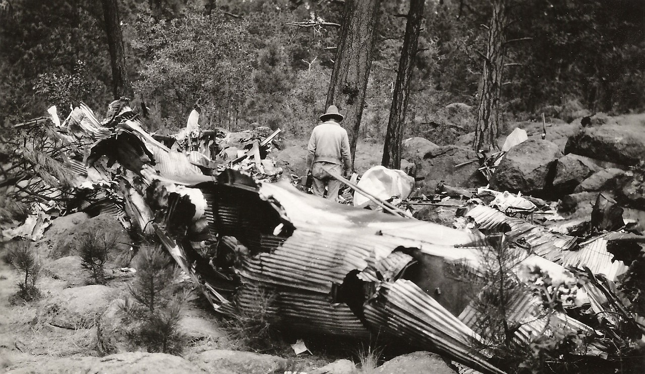 THEN and NOW<br /> <br /> 1929 - This photograph taken shortly after the accident depicts the main fuselage location. A localized post crash fire consumed most of the passenger cabin. (J.R. Willis Photo)