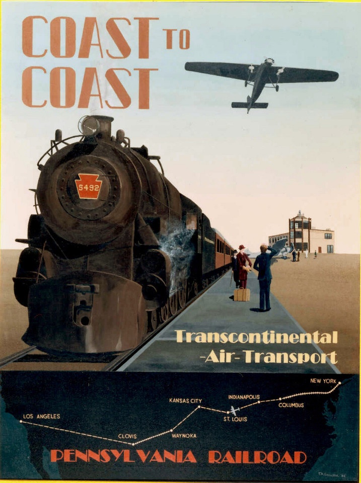 On July 7, 1929 Transcontinental Air Transport (T.A.T.) in conjunction with the Pennsylvania and Santa Fe Railroads, inaugurated coast-to-coast overnight air/rail service between New York City and Los Angeles/San Francisco. (Photo courtesy of Steve Owen)