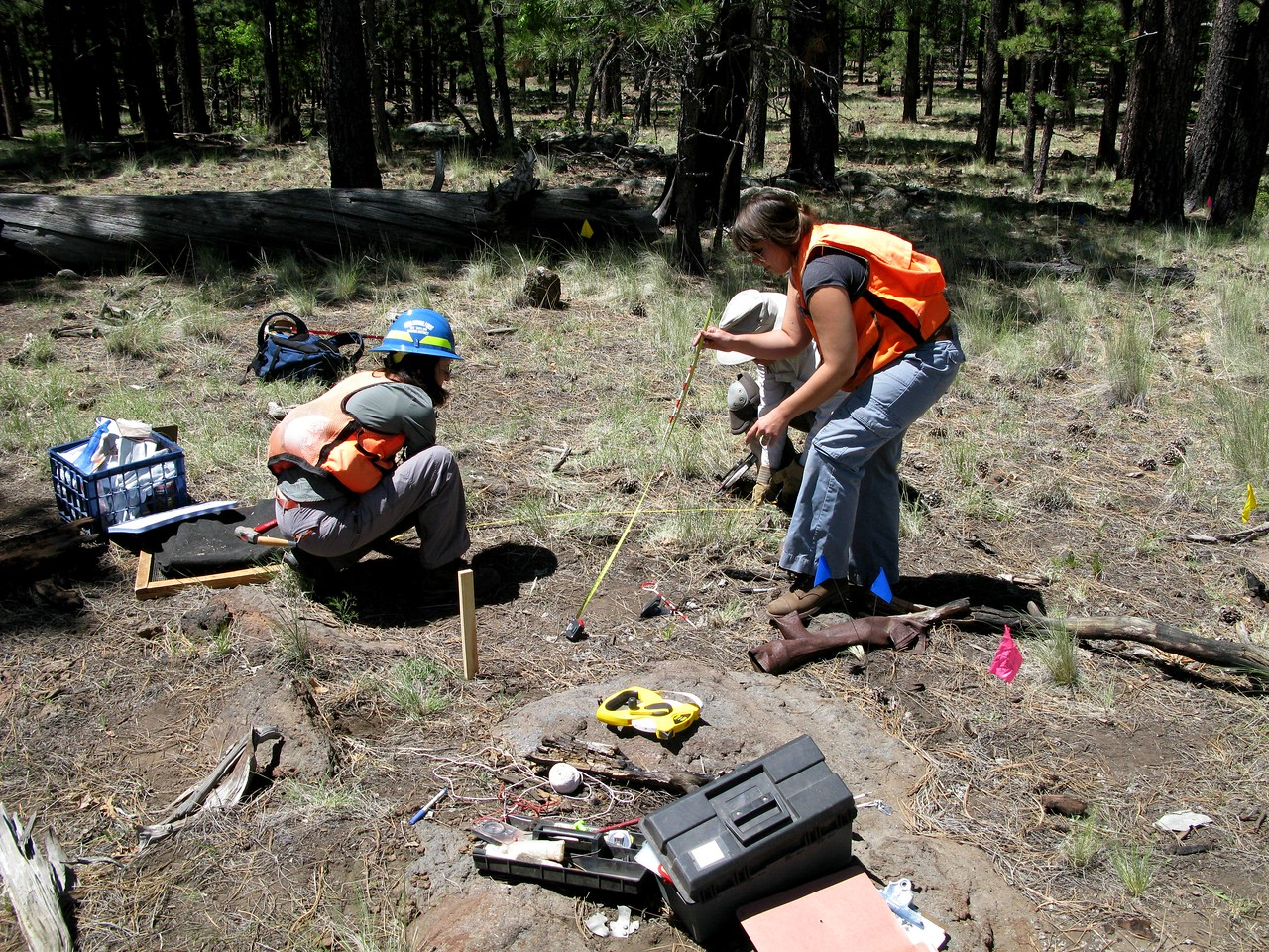 Setting up an excavation grid in the debris field.