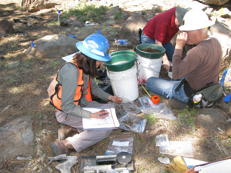 USFS Project Leader Linda Popelish recording a recovered piece of aircraft wreckage from an excavation grid.<br /> <br /> Soil was screened into the five gallon buckets and the recovered artifacts separated into the zip-lock bags.
