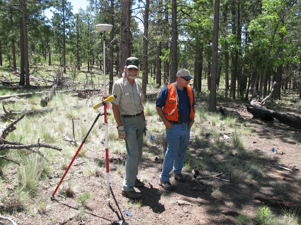 The Forest Service brought in their field mapping guys Doug Williams and Randy Horn along with a Trimble GPS Total Station.<br /> <br /> A total station is an electronic/optical instrument used in modern surveying. The equipment is also used by archaeologists to record excavations.