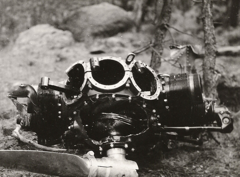 Most likely this Wright Wasp Engine is either from the #1 or #3 position since the wing sections were taking most of the impacts from the trees. <br /> <br /> Notice the three cylinders sheared from the engine crankcase due to the impact. (J.R. Willis Photo)