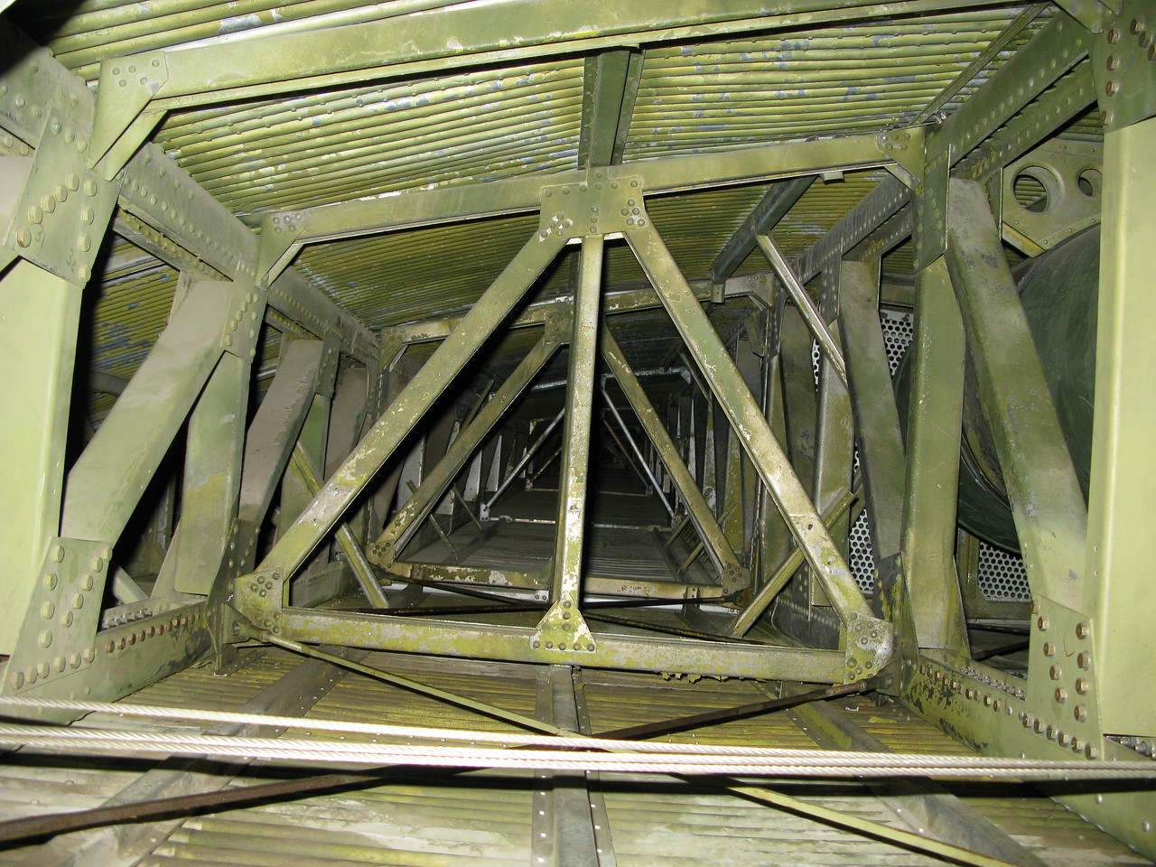 A view inside the wing box of N414H depicting the structural stringer supports.
