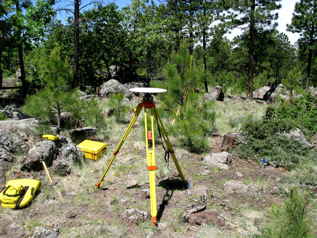 "This GPS mapping equipment looked a little out of place in the primitive forest we were working in, but it provided map accuracies less than a 1/2"" for the survey."