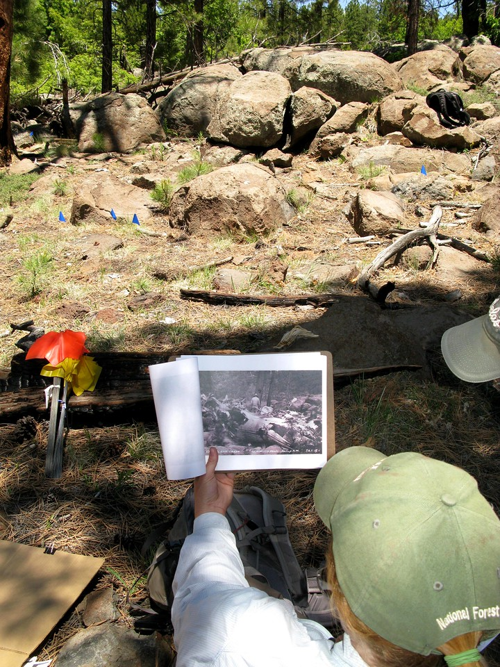 During the survey we were able to match many of the photographs taken during 1929 with the surrounding terrain. <br /> <br /> In this photo, Erin Brown of the USFS uses an old photo of the crash site to match the current location.