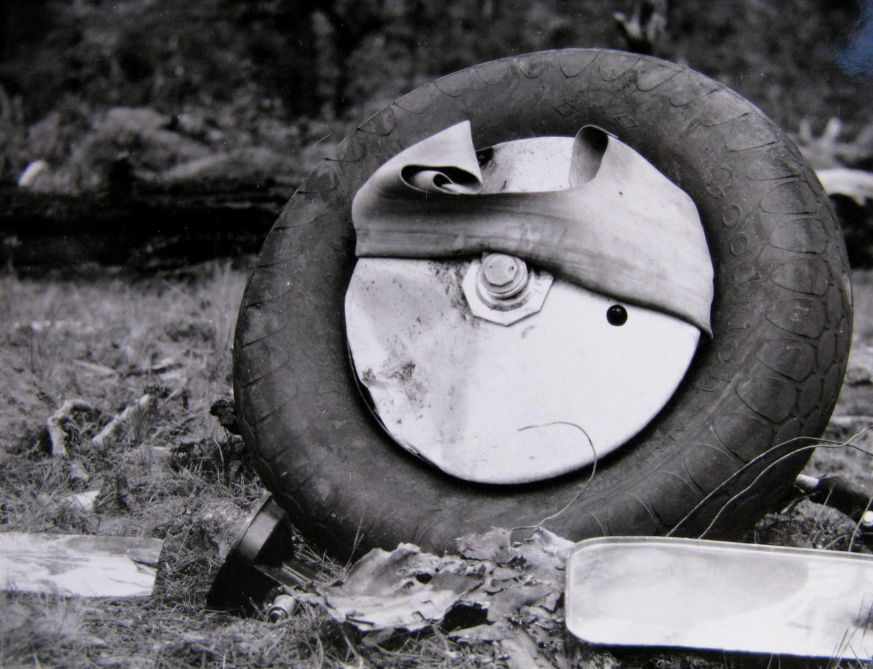 One of two main wheel and tire assemblies lie on the forest floor amid other wreckage debris. <br /> <br /> With the tube separated from the tire, it is more than likely that the tire along with the landing gear supports impacted the trees. (J.R. Willis Photo)