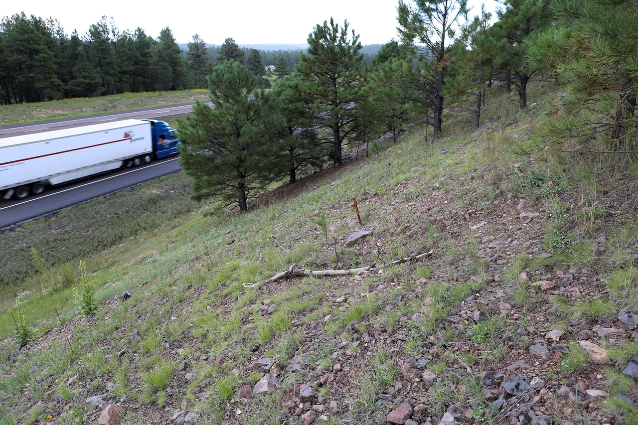 A view of the initial impact site illustrates the close proximity of  Interstate 17. At the time of the accident, this embankment was covered in snow.