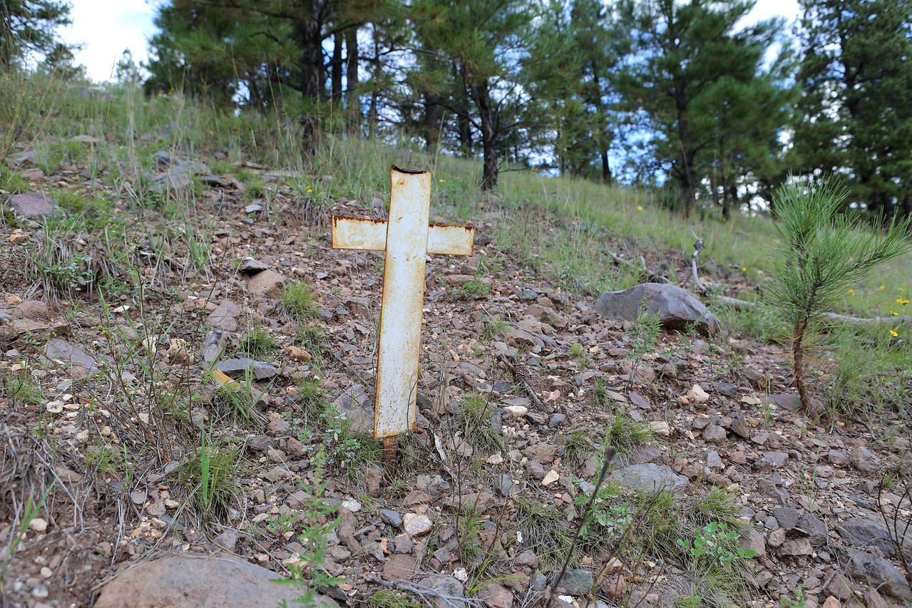 A memorial cross was placed at the initial impact site by family and friends of the pilot.