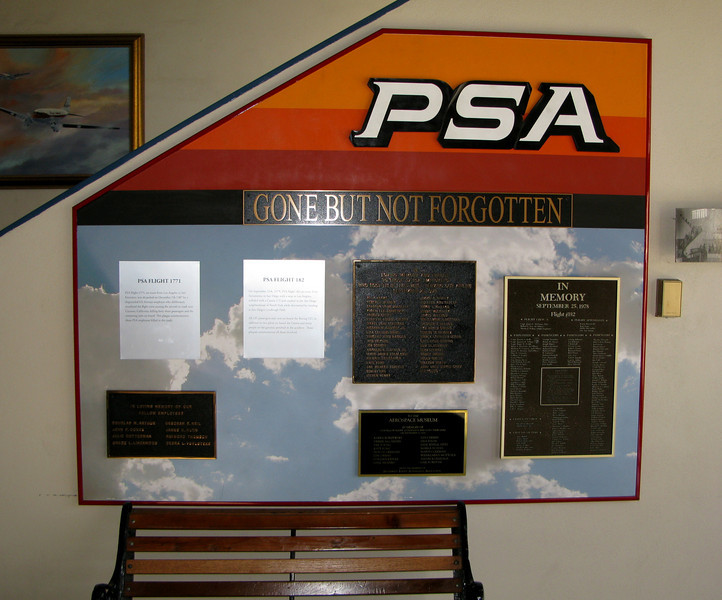 PSA FLIGHT 182 MEMORIALS<br /> <br /> The San Diego Air and Space Museum houses a few memorial plaques dedicated to those lost in this air disaster.<br /> <br /> Many of these plaques were originally placed at PSA corporate offices, but were re-located to the museum when the airline merged with US Air in 1987.