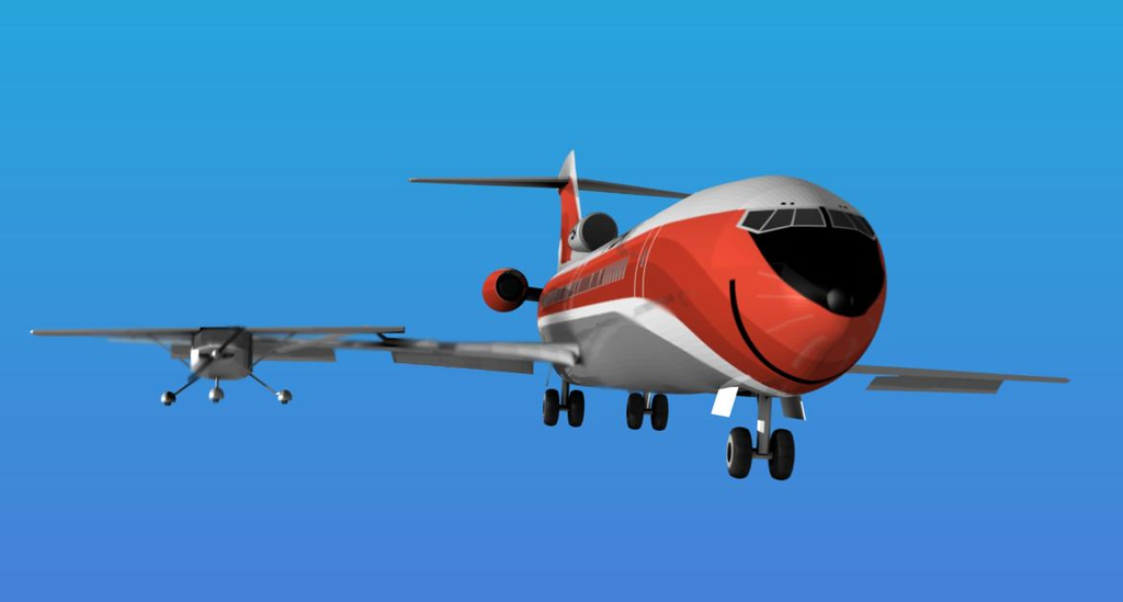 COLLISION - 9:01:47 AM<br /> <br /> Traveling nearly twice the speed of the Cessna 172, the descending Boeing 727 overtook the smaller aircraft at an altitude of 2,600 feet.<br /> <br /> The impact near the wing root of the Boeing damaged the leading edge slats, forward Kruger flaps and breached the Boeing's right wing fuel tanks. The damage to the Boeing's flaps created an induced and un-recoverable aerodynamic roll.