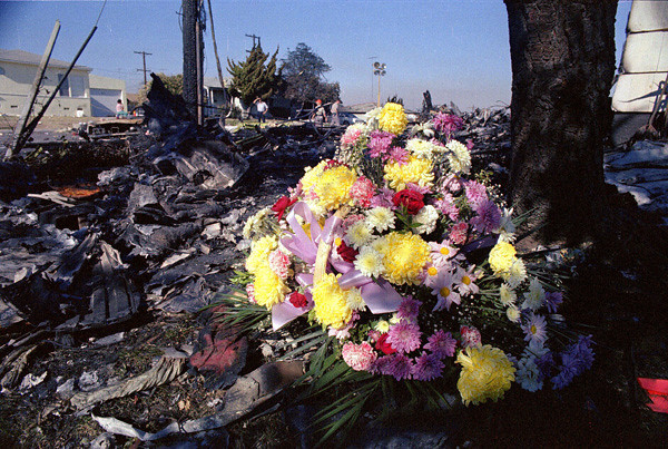 A small memorial of flowers was placed at the crash site during the recovery and clean-up operation in 1978.