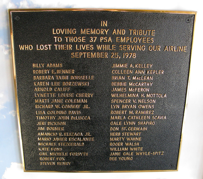 This plaque was dedicated to the 37 PSA employees (both crew and passengers) that lost their lives in the air disaster. <br /> <br /> These plaques are located at the PSA exhibit inside the museum.