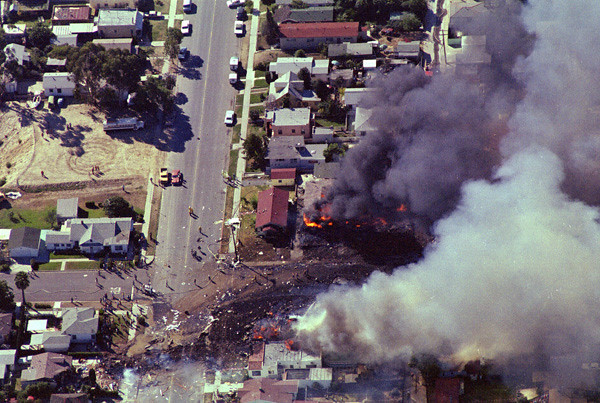 This aerial view of PSA Flight 182's crash site in the North Park shows the aircraft's point of impact and the direction of travel that burning fuel and debris followed through the residential area.