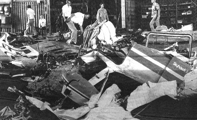 The NTSB begins to assemble the wreckage of the two aircraft in a hangar at Lindbergh Field.<br /> <br /> Accident Investigators collected thousands of fragments while concentrating on key fragments that were directly involved in the collision.