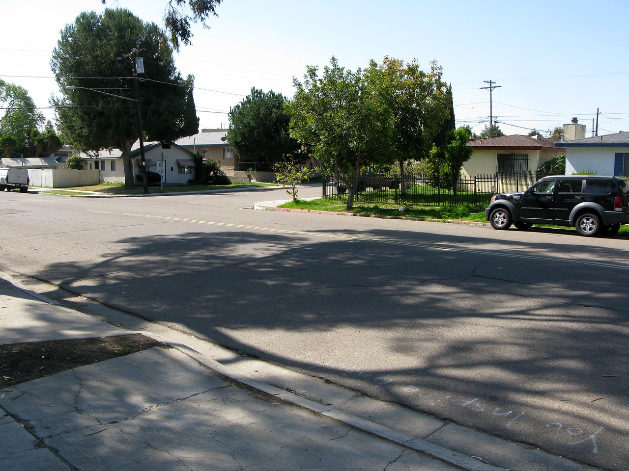 This photo taken from the initial point of impact illustrates the direction of debris travel across Nile and Dwight Streets.