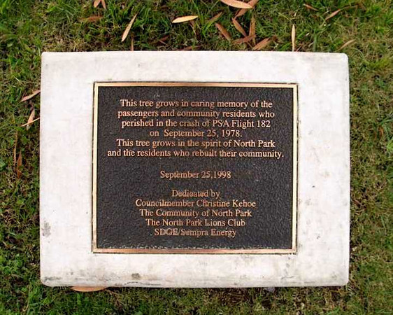 Located at the public library in North Park, a memorial plaque and tree were planted in 1998 in memory of those lost in the air disaster of September 25, 1978.