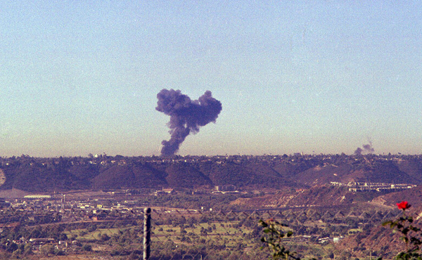 Another photographer captured this image shortly after the collision and impact of the two aircraft. The plume of smoke to the right of the frame is from the Cessna 172.