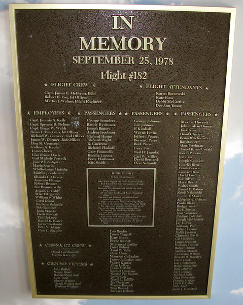 This large plaque was dedicated to all 144 victims of the air disaster including those on the Cessna and those that perished on the ground.